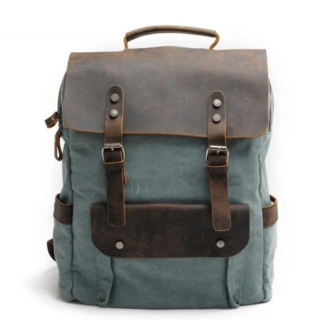 MRoyale™ Men's Vintage Leather Canvas Backpack Backpacks MRoyale™ Fashion Lake green