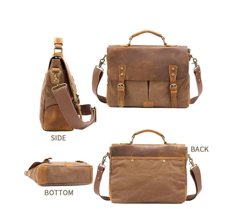 "MRoyale™ Men's Vintage Leather Canvas Crossbody 14"" Laptop Messenger bags MRoyale™ Fashion"