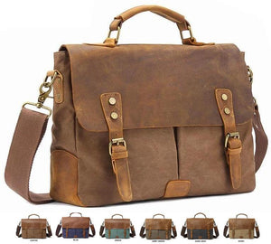 "MRoyale™ Men's Vintage Leather Canvas Crossbody 14"" Laptop Messenger bags MRoyale™ Fashion Brown"