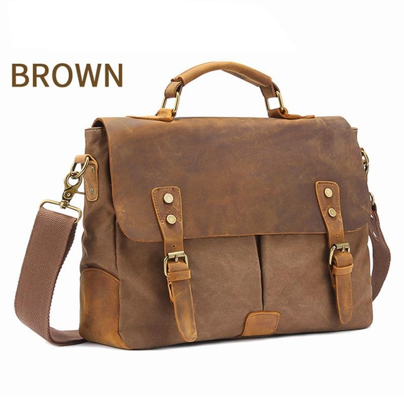 "MRoyale™ Men's Vintage Leather Canvas Crossbody 14"" Laptop Messenger bags MRoyale™ Fashion Brown United States"