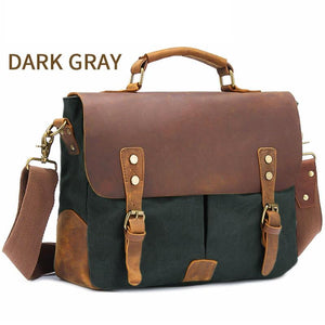 "MRoyale™ Men's Vintage Leather Canvas Crossbody 14"" Laptop Messenger bags MRoyale™ Fashion Dark Gray United States"