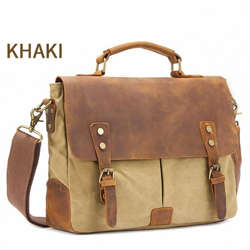 "MRoyale™ Men's Vintage Leather Canvas Crossbody 14"" Laptop Messenger bags MRoyale™ Fashion Khaki United States"