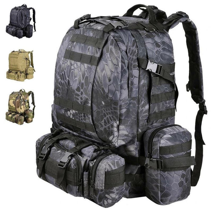 MROYALEX™ 55L Military Tactical PREMIUM Army Molle Rucksack Assault Backpack bags MRoyale™ Fashion Black Pythons Grain
