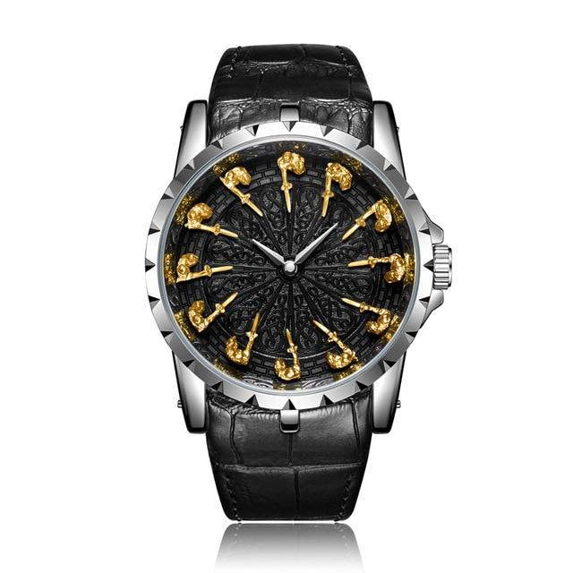 ONO™ Men's Stylish Leather Business Casual Watch Casual Watches ONO™ Fashion ON3809 silver-gold
