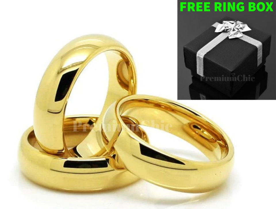 PChique™ Men's Tungsten Carbide 18K Gold Plated Ring (2-8mm Thick) men's ring PChique™
