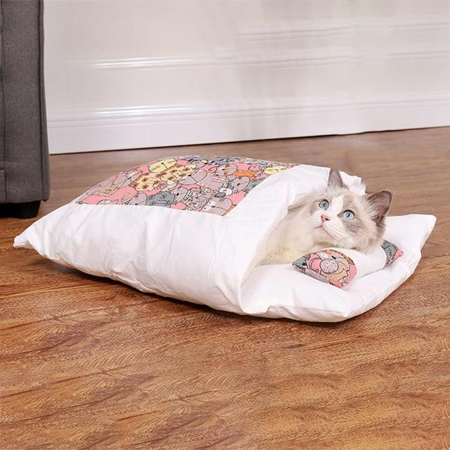 PETLAVISH™ Burrow Calming Cat/Puppy Sleeping Bag - Cozy Plush Kennel w/ Pillow Pet Bed PETLAVISH™ Fashion B S 45x30cm United States