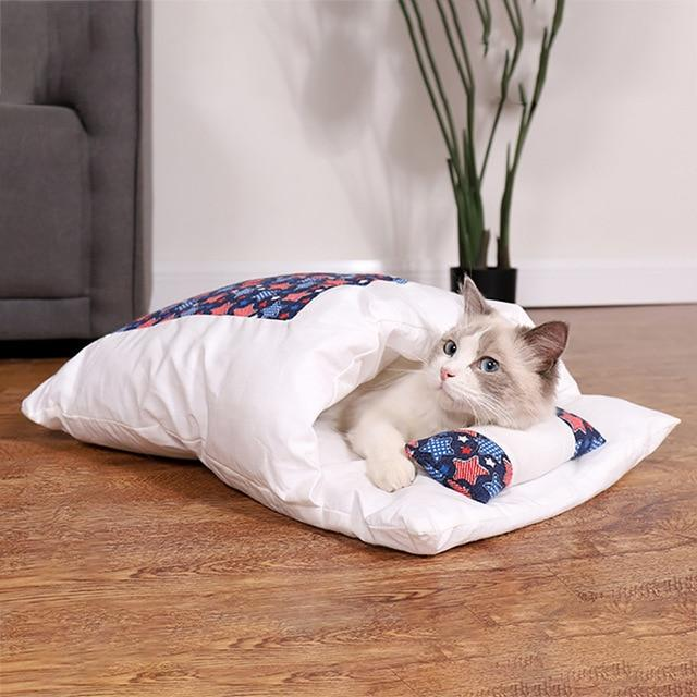 PETLAVISH™ Burrow Calming Cat/Puppy Sleeping Bag - Cozy Plush Kennel w/ Pillow Pet Bed PETLAVISH™ Fashion D S 45x30cm United States