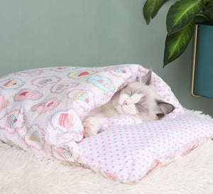 PETLAVISH™ Burrow Calming Cat/Puppy Sleeping Bag - Cozy Plush Kennel w/ Pillow Pet Bed PETLAVISH™ Fashion G S 45x30cm United States