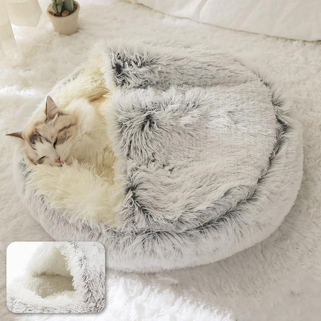 PETLAVISH™ Burrow Calming Cave Cat/Dog Bed - Cozy Plush Sleeping Kennel Pet Bed PETLAVISH™ Fashion Grey Long Plush Small (35cm)