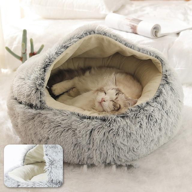 PETLAVISH™ Burrow Calming Cave Cat/Dog Bed - Cozy Plush Sleeping Kennel Pet Bed PETLAVISH™ Fashion Grey Small (35cm)