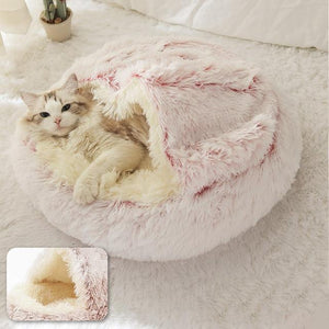 PETLAVISH™ Burrow Calming Cave Cat/Dog Bed - Cozy Plush Sleeping Kennel Pet Bed PETLAVISH™ Fashion Pink Long Plush Small (35cm)