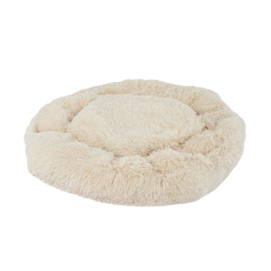 "PETLAVISH™ Donut Plush Pet Dog Cat Bed Fluffy Soft Warm Calming Bed Sleeping Kennel Nest Pet Bed PETLAVISH™ Creamy White S (23.6"")"
