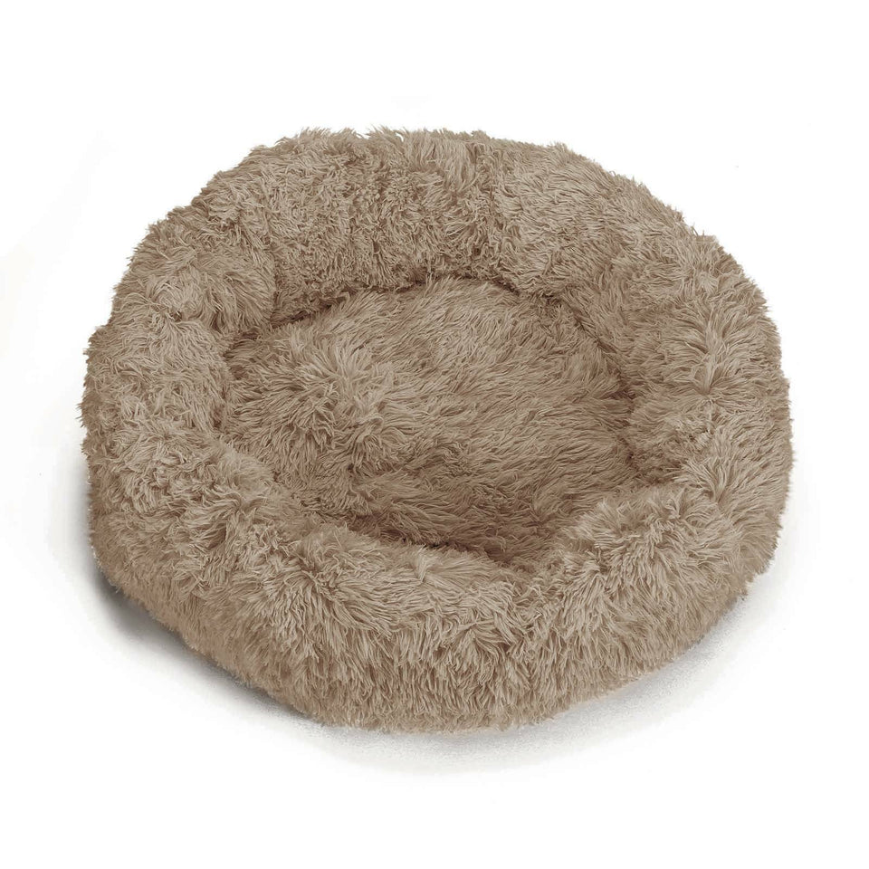 "PETLAVISH™ Donut Plush Pet Dog Cat Bed Fluffy Soft Warm Calming Bed Sleeping Kennel Nest Pet Bed PETLAVISH™ Khaki S (23.6"")"