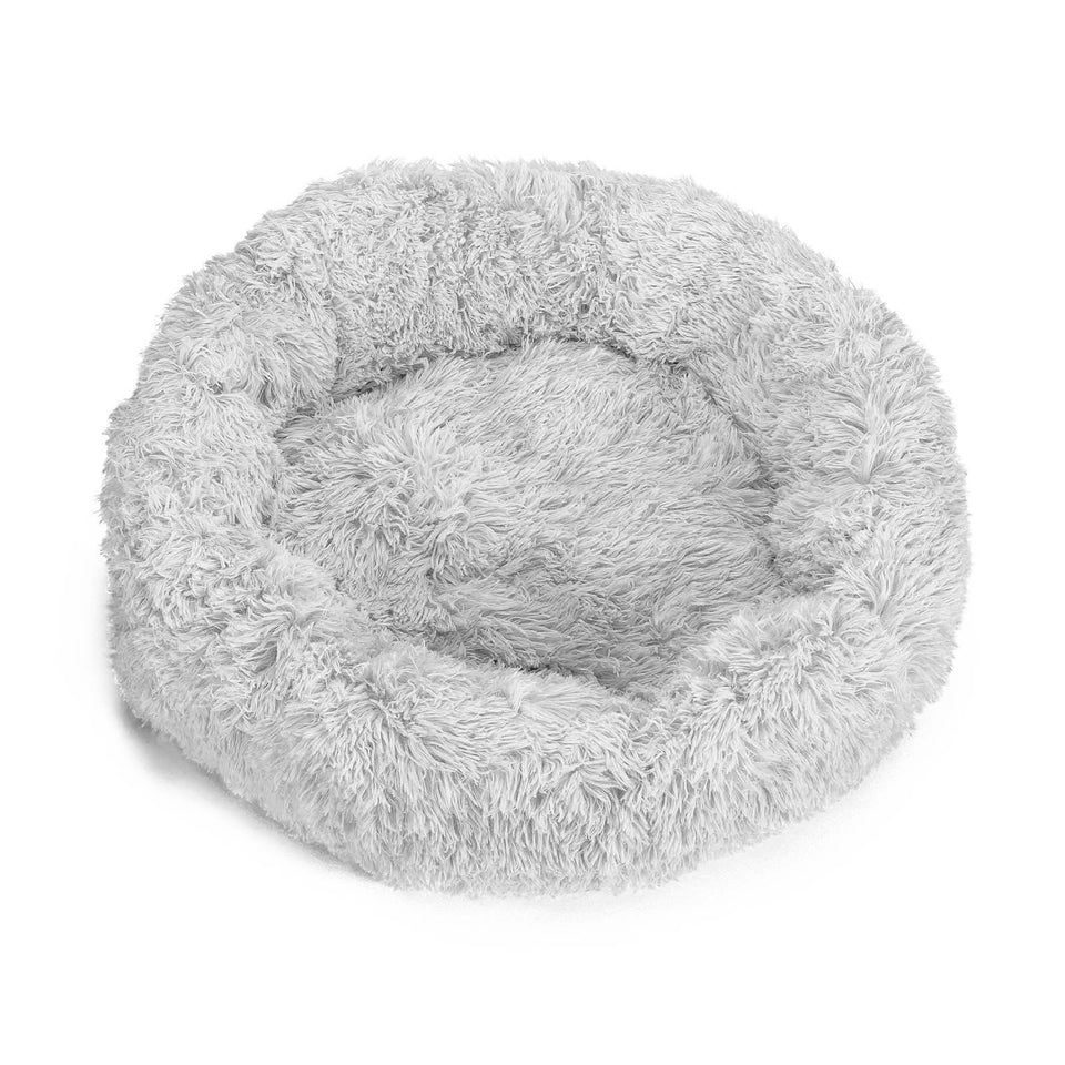 "PETLAVISH™ Donut Plush Pet Dog Cat Bed Fluffy Soft Warm Calming Bed Sleeping Kennel Nest Pet Bed PETLAVISH™ Light gray S (23.6"")"