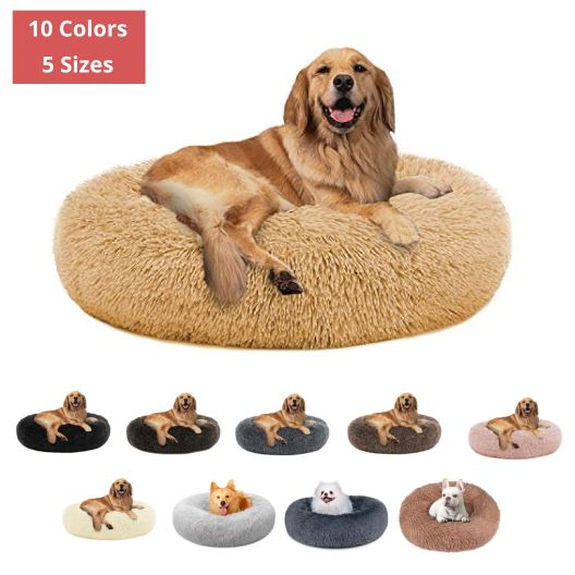 PETLAVISH ELITE™ FLUFFY CALMING DONUT DOG/CAT BED S-XXL: COZY PLUSH SLEEPING KENNEL Pet Bed PETLAVISH™