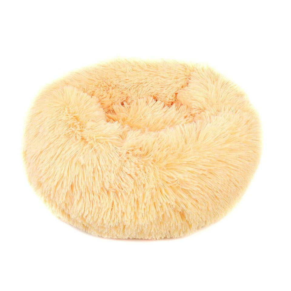 PETLAVISH™ Fluffy Calming Donut Dog/Cat Bed - Cozy Plush Sleeping Kennel Pet Bed PETLAVISH™ Fashion 16in Apricot