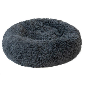 PETLAVISH™ Fluffy Calming Donut Dog/Cat Bed - Cozy Plush Sleeping Kennel Pet Bed PETLAVISH™ Fashion 16in Dark Gray