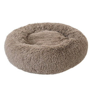 PETLAVISH™ Fluffy Calming Donut Dog/Cat Bed - Cozy Plush Sleeping Kennel Pet Bed PETLAVISH™ Fashion 16in Khaki