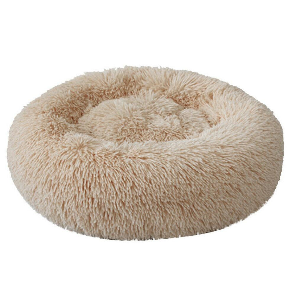 PETLAVISH™ Fluffy Calming Donut Dog/Cat Bed - Cozy Plush Sleeping Kennel Pet Bed PETLAVISH™ Fashion 16in Light Coffee