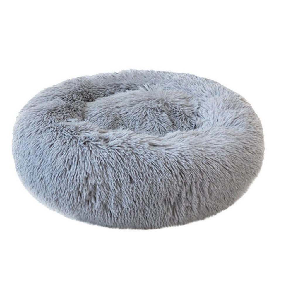 PETLAVISH™ Fluffy Calming Donut Dog/Cat Bed - Cozy Plush Sleeping Kennel Pet Bed PETLAVISH™ Fashion 16in Light Gray