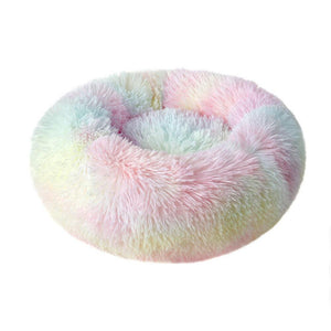 PETLAVISH™ Fluffy Calming Donut Dog/Cat Bed - Cozy Plush Sleeping Kennel Pet Bed PETLAVISH™ Fashion 16in Mix-color