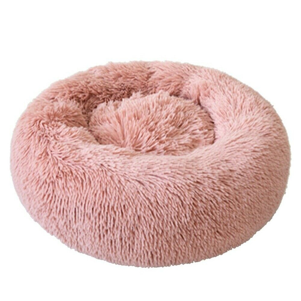 PETLAVISH™ Fluffy Calming Donut Dog/Cat Bed - Cozy Plush Sleeping Kennel Pet Bed PETLAVISH™ Fashion 16in Pink