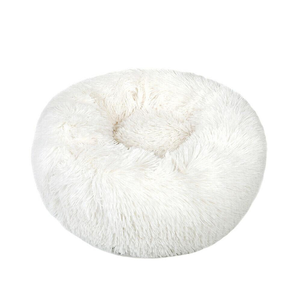 PETLAVISH™ Fluffy Calming Donut Dog/Cat Bed - Cozy Plush Sleeping Kennel Pet Bed PETLAVISH™ Fashion 16in White