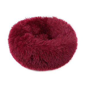PETLAVISH™ Fluffy Calming Donut Dog/Cat Bed - Cozy Plush Sleeping Kennel Pet Bed PETLAVISH™ Fashion 16in Wine Red
