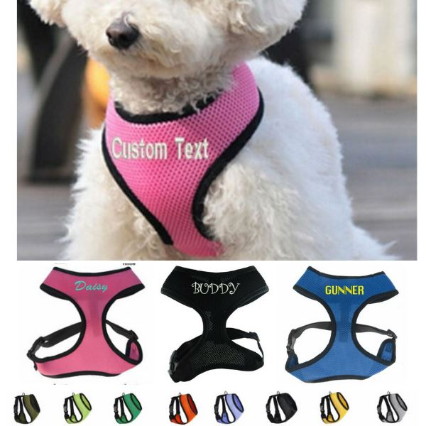 PETLAVISH™ Personalized Embroidery Small Dog Harness: Custom Font, Soft, Breathable No-Choke Vest Dog Harness PETLAVISH™