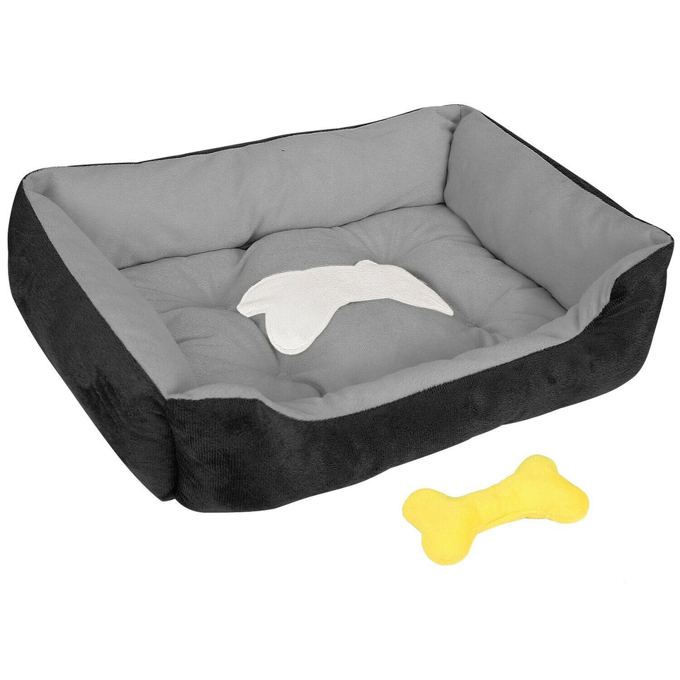 "PETLAVISH™ Plush Dog/Cat Non-Slip Bed: S-XXL Cozy Fleece Cushion Mat Kennel w/ BONE Toy Pet Bed PETLAVISH™ Fashion S (50x40x15cm/19.69""x15.75""x5.91"") Black"