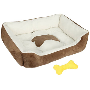 "PETLAVISH™ Plush Dog/Cat Non-Slip Bed: S-XXL Cozy Fleece Cushion Mat Kennel w/ BONE Toy Pet Bed PETLAVISH™ Fashion S (50x40x15cm/19.69""x15.75""x5.91"") Brown"