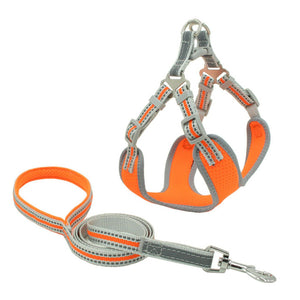 PETLAVISH™ Reflective Dog Vest Harness Leash Collar Set No Pull Adjustable for XS-L Dog Harness PETLAVISH™ Orange XS