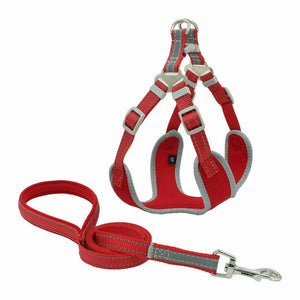 PETLAVISH™ Reflective Dog Vest Harness Leash Collar Set No Pull Adjustable for XS-L Dog Harness PETLAVISH™ Red XS
