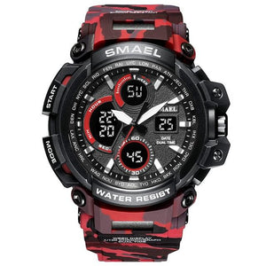 SMAX™ Men's Military Sport Quartz LED Digital Waterproof Wrist Watch 1B military watch SMAX™ Fashion Camo Red