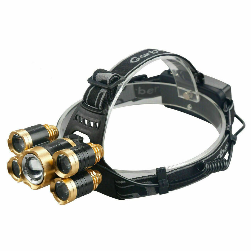 SMAXLuminate™ Ultra-Bright 5 LED Headlamp: Zoom Rechargeable Waterproof Head Light Torch 990000LM led headlamp SMAXLuminate™