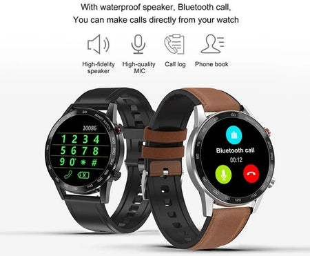 SMAXPLUS™ RISE Men's SMARTWATCH Call/Text, Fitness & Health Tracker, Heart Rate Monitor (Android/IOS) smartwatch SMAXPlus™ All Black-Leather