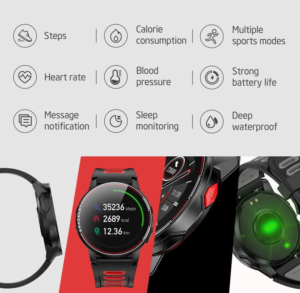 SMAXPRO™ FIT Men's SMARTWATCH Fitness Sleep Tracker, Heart Rate Monitor, Bluetooth (Android/IOS) smartwatch SMAXPRO™ FIT