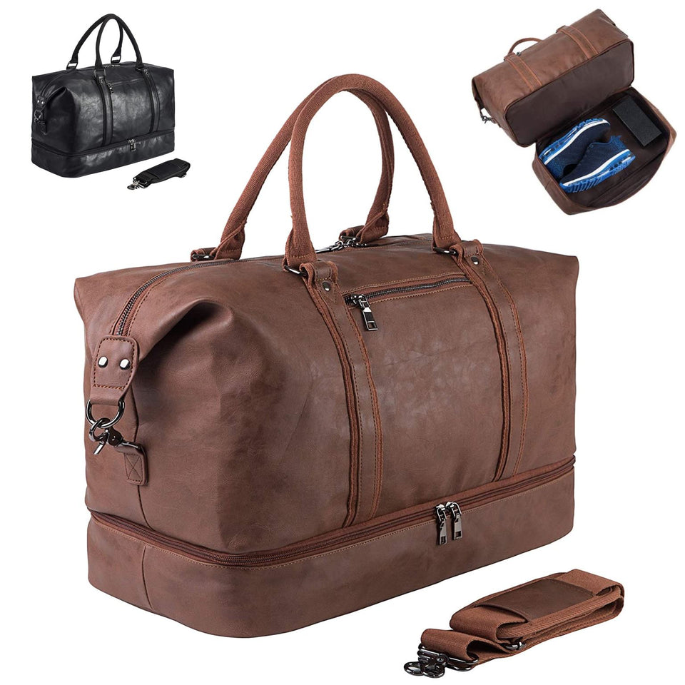 SYFashion™ Men's Vintage Large Leather Travel Duffle Weekend Bag w/ Shoe Storage Duffle Travel Bag SYFashion™