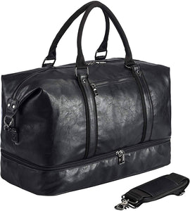 SYFashion™ Men's Vintage Large Leather Travel Duffle Weekend Bag w/ Shoe Storage Duffle Travel Bag SYFashion™ Black