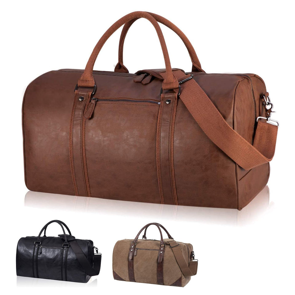 SYFashion™ Men's Vintage Leather Oversized Travel Gym Duffle Weekend Bag Duffle Travel Bag SYFashion™