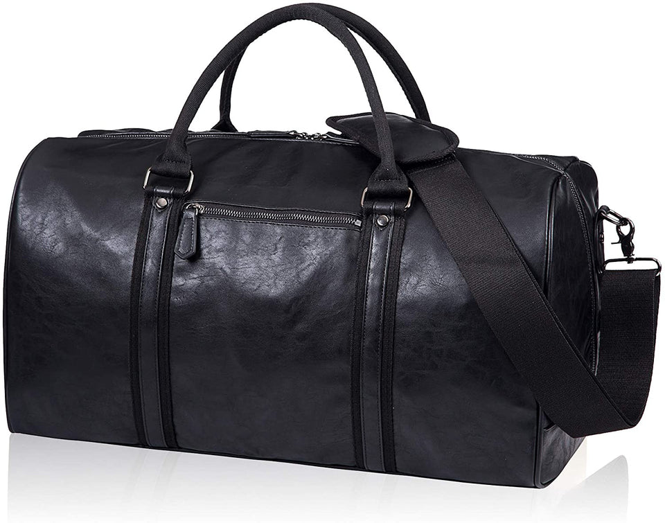 SYFashion™ Men's Vintage Leather Oversized Travel Gym Duffle Weekend Bag Duffle Travel Bag SYFashion™ Black