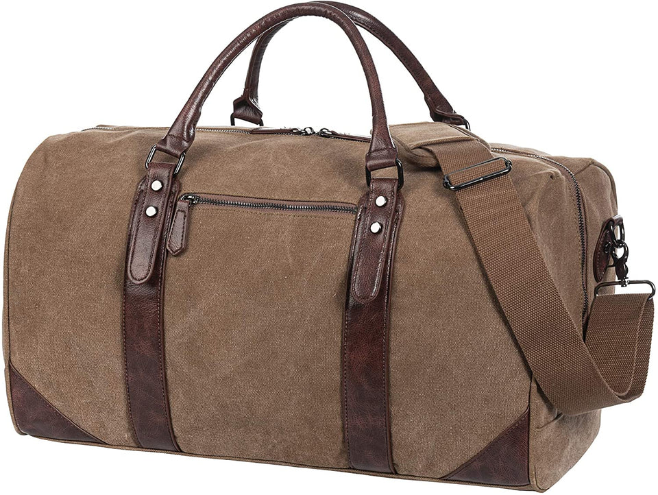 SYFashion™ Men's Vintage Leather Oversized Travel Gym Duffle Weekend Bag Duffle Travel Bag SYFashion™ Tan