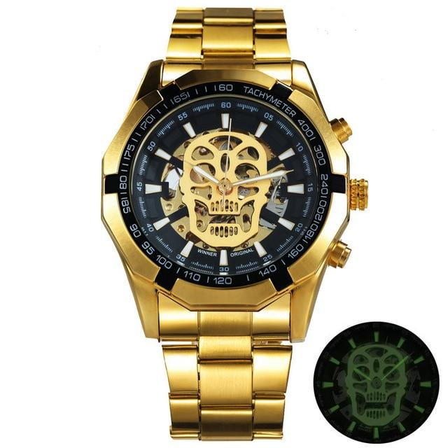 TWN™ Men's Skull Skeleton Stainless Steel Watch Specialty Watch TWN™ Fashion Skull Gold Black