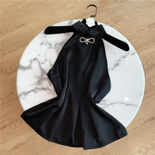 2020 Summer New Young Slim All-match Satin Chiffon Off-Shoulder Halter Shirt for Women Black Sleeveless Loose Blouse Shirts Tops