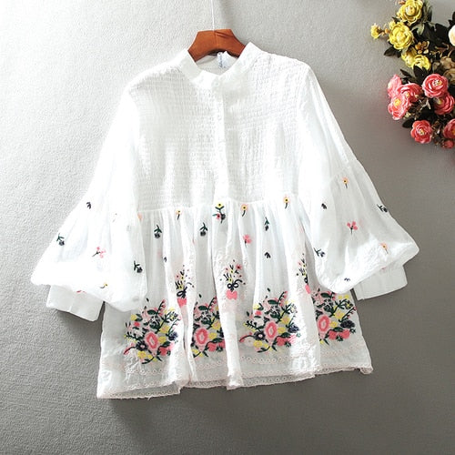 Summer Long Sleeve Blouse for Wonen Embroidered Floral Loose Organza Chiffon Blouse Shirt Female Tops Girls Students Blusas