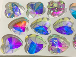 Set of 100 - Suncatcher, Clear Crystal, Clear AB Heart-Shaped Prisms  #870 - 40 MM,  1 Hole