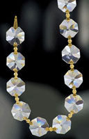 22 Yard - Clear with Gold Pin Crystal Garland Chain 1080-14 MM