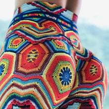 Load image into Gallery viewer, High Waist Designer Crochet Knit Print Push Up Leggings