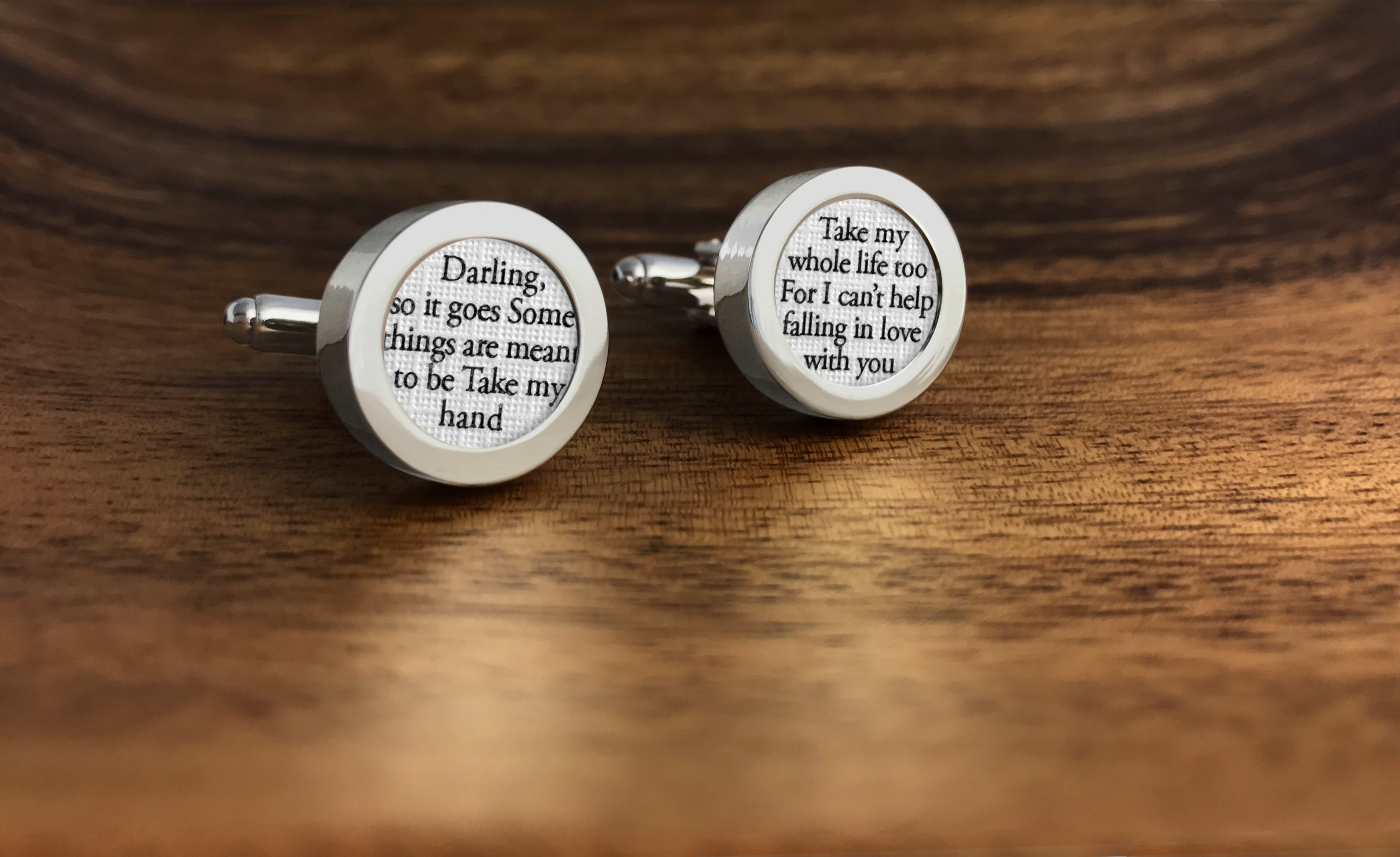 can't help falling in love custom wedding cufflinks