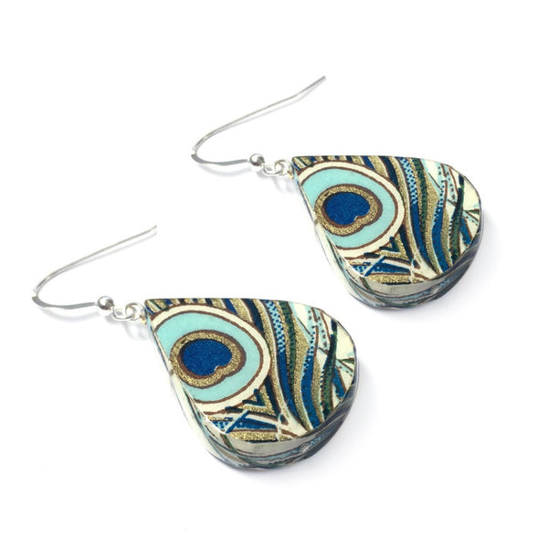 1st anniversary gifts for her - peacock paper earrings